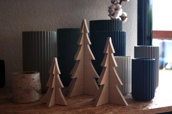 3 stk. juletræer i birk